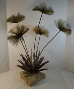 Copper And Brass Sculpture Of A Cactus And Its Flowers By John Steck