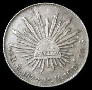 1874 Mo Mg Silver Mexico 8 Reales Cap And Rays Coin Mexico City Mint W/ Chop Marks