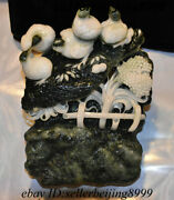 Collect Ancient Chinese Dushan Jade Stone Carving 5 Rooster Cock Mountain Statue