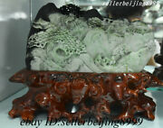 China 100 Natural Dushan Jade Stone Carved Fengshui Pine Mountain People Statue