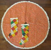 Vintage Handmade Quilt Reversible Christmas Tree Skirt And 2 Matching Stockings
