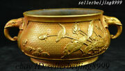 China Dynasty Palace Purple Bronze Gold Elephant Head Handle Lotus Alms Bowl Pot