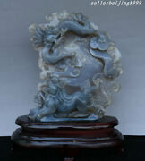 9andrdquorare China Natural Agate Hand Carve Dynasty Palace Dragon Kylin Chi-lin Statue