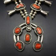 Vintage Navajo Sterling Silver And Red Mediterranean Coral Squash Blossom Necklace