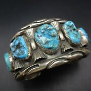 Heavy Vintage Navajo Chisel Stamped Sterling Silver Turquoise Cuff Bracelet 112g