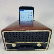 Smart Phone Amplifier Sound Box In Shape Of Antique Table Radio For Audio