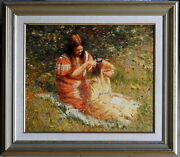 Dale Marsh 1940- Large Original Oil Painting The Red And Golden Girls Greenfiled