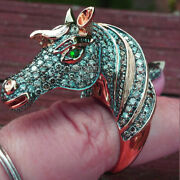 4.56cts Diamond 14cts Solid Rose Gold Emerald Studded Gorgeous Horse Head Ring