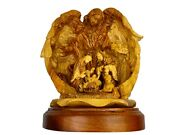 Hand Carved Nativity Set With Angle Of One Piece Olive Wood Made In Bethlehem