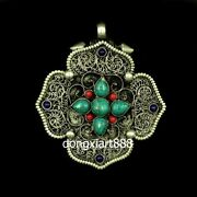 Tibetan Temple Copper Inlay Coral Turquoise Niche For Buddha Amulets Small Box