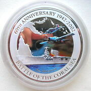 Cook 2002 Battle Of The Coral Sea 10 Dollars 10oz Colour Silver Coin,proof
