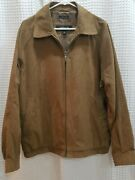 Claiborne Mens Full Zip Suede Jacket Size Large Brown Lined Interior Pockets Euc