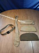 Vintage Ww2 1940s Military Army Field Hats, Belt And Tie