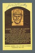 Joe Mccarthy Signed Hall Of Fame Yellow Plaque Auto With Bande Hologram