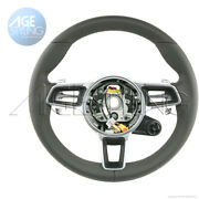 Oem Porsche 911 Cayman 718 Boxster Agate Grey Leather Steering Wheel Mode Switch