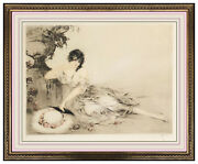 Louis Icart At The Urn Original Hand Colored Etching Signed Female Art Deco Rare