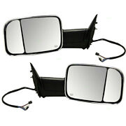 Pair Set Towing Mirrors Power Chrome Heated For 09-10 Dodge Ram 11-12 Ram Truck