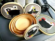 Vintage Nesting Stacking Boxes Linda Morgan Wood With Farm Animals 1970's