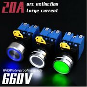 22mm 20a Current Brass Chrome Ring Led Switch Industrial Equipment Start Power