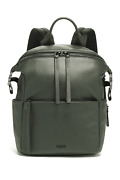 Tumi Mezzanine Pebbled Leather Pat Backpack Fits 12 Laptop Olive Green New Sale