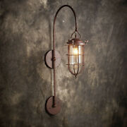 Nautical Rustic Metal Glass Lantern Wall Light Gooseneck Lamp Porch Wall Sconce