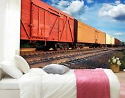3d Freight Train P29 Transport Wallpaper Mural Self-adhesive Removable Zoe