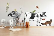 3d Butterfly Cow P67 Animal Wallpaper Mural Self-adhesive Removable Zoe