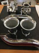 Mikuni Dual Polished 42mm Caburetor With Intakes And Velocity Stacks And Cables