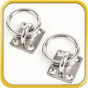 2 Steel Stainless 6mm Square Eye Plates W Ring 1/4 Marine 316 Ss Boat Rigging