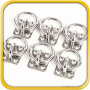 6 Steel Stainless 6mm Square Eye Plates W Ring 1/4 Marine 316 Ss Boat Rigging