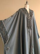 Antique Vtg 1900s Edwardian Arts And Crafts Wool Cocoon Cloak Cape Coat Embroidery