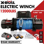 X-bull Electric Winch 12v 12000lbs Synthetic Rope Jeep Towing Truck Off Road 4wd