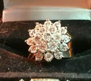 14k Solid Yellow Gold Diamond Cluster Ring 2cts Tw Size 6 Weighs 8.7 Grams