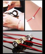 18k Rose Gold Silver Red Thin Dainty Minimalist Elements Luck Bracelet