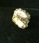 18k Solid Yellow Gold Biya Pearls Free Form Design Size Weighs 16.7 Grams 6.75