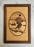 Vintage Marquetry Wood Inlay Snow Skier 6.75 X 9.75 Framed And Signed Nelson