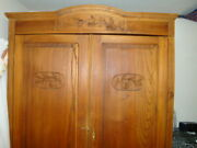 Antique Oak Wardrobe Floral Design On Top C.1890-1900 With 2 Drawers