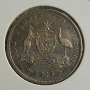 C47.2. 1915 Australian Sterling Silver Florin Two Shilling Coin