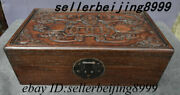 Old China Dynasty Huang Huali Wood Bat Coin Peach Emboss Storage Casket Case Box