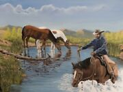 Jim Lang Cooling Down Bulrush Pond Cowboy Horses Oil Painting On Canvas 18x24
