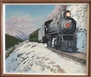 Jim Lang Old Time Tour Train Original Oil Painting On Canvas 20x24