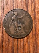 Great Britain Half Penny 1917 Brass Coin United Kingdom Nice Condition
