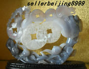 Chinese Agate Carving Feng Shui Lingzhi Ruyi Peach Tree Coin Bat Ornament Statue