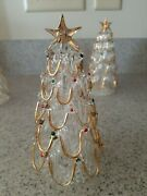 Vintage Glass Blown Christmas Trees With Gold Decoration