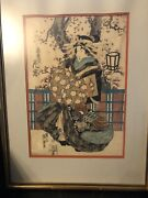 Pair Antique Late 18th/early 19thc Framed And Matted Signed Japanese Prints