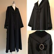 Rare Antique Vtg 1900s Edwardian Arts And Crafts Wool Coat Velvet Braided Accents
