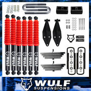 2.8 Front 2 Rear Lift Kit W/ Dual Wulf Shock Kit For 1999-2004 Ford F350 4x4