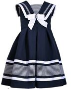 Bonnie Jean Little Girland039s Nautical Box Pleats Fit And Flare Dress-size-5 Or 6