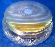 Charles S Green And Co Powder Jar Art Nouveau Sterling Silver Lid And Crystal Marked