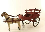 Toy Lenoble Cart Wood With Horse Composition 17 11/16in Vintage Horse Cart